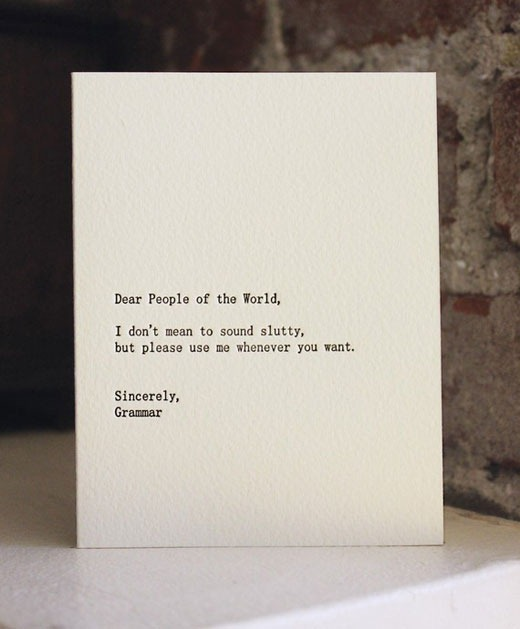 Letterpress Grammar Card